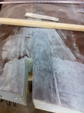 The spar is prep sanded for spar extension. Access is also made for extending the shear web.