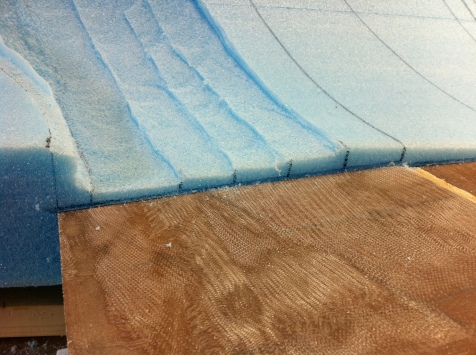 Lines marked to connect areas of equal excess foam, then removed 80% of the excess foam in each section.