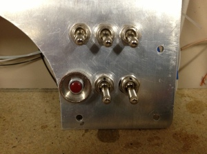 From left to right, DC Power Master, Autopilot Power, Electric Trim Power, Starter Switch, Left Ignition, Right Ignition.